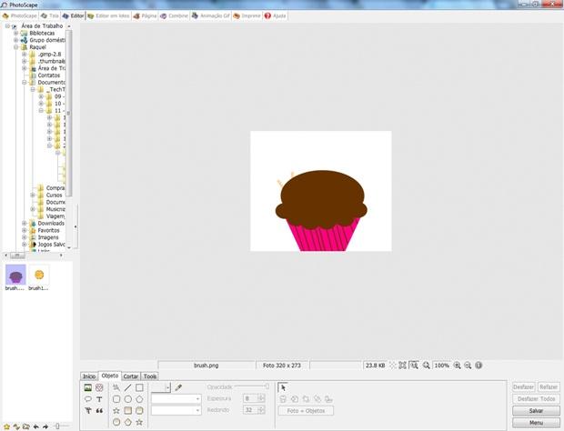 Tela inicial do Photoscape com imagem que irá virar brush (Foto: Reprodução/Raquel Freire)