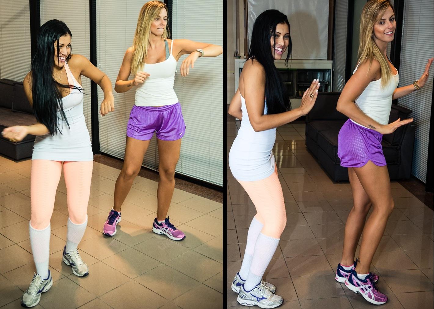 Kamilla Covas e Karen Kounrouzan testam games de dança Dance Central 3 e Just Dance 4 (Foto: Reprodução/Bruno Alves)