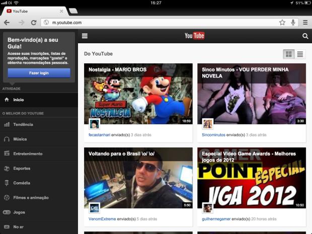 Nova interface do YouTube leva a experiência do tablet para a versão mobile (Foto: Reprodução/Ricardo Fraga)