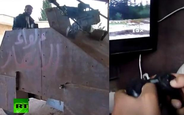 Grupo rebelde adapta joystick para controlar tanque (Foto: Reprodução)