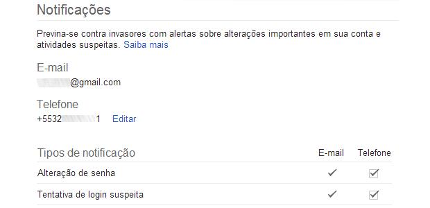 Usuários podem receber email ou SMS avisando das atividades na Conta Google (Reprodução/Ricardo Fraga)