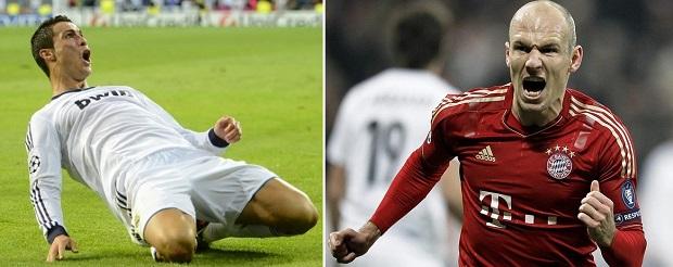 CR7 numa ponta e Robben na outra: inferno para adversários (Foto: Reprodução/AFP)