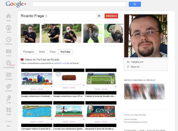 Google+ passa a exibir os vídeos públicos enviados ao YouTube no perfil do usuário (Foto: Reprodução/Ricardo Fraga)