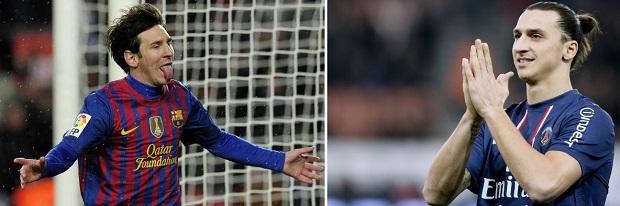 Messi e Ibra juntos: no Barça não deu certo, mas no Fifa... (Foto: Reprodução/AFP) (Foto: Messi e Ibra juntos: no Barça não deu certo, mas no Fifa... (Foto: Reprodução/AFP))