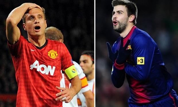 Vidic e Piqué formam dupla de zaga viril no Fifa 13 (Foto: Reprodução/AFP)