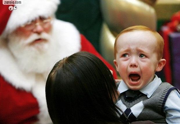 Menino chora diante de papai noel (Foto: Reprodução)