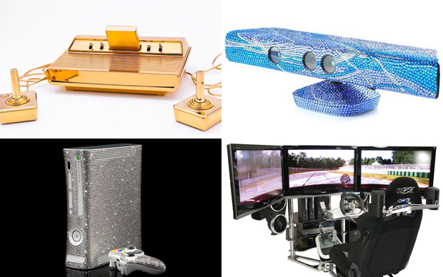 Joystcks personalizados com diamantes e banhados a ouro são o sonho de qualquer gamer (Foto: Reprodução)