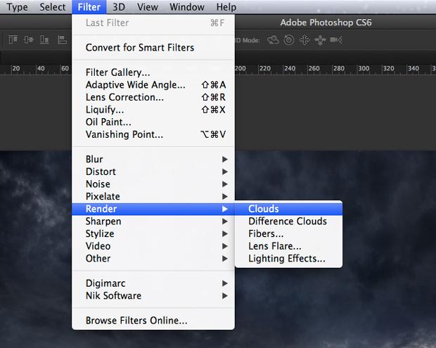 """Caminho para o filtro """"Nuvens"""". Na versão em inglês do Photoshop, o filtro é chamado de """"Clouds"""" (Foto: Reprodução/André Sugai)"""