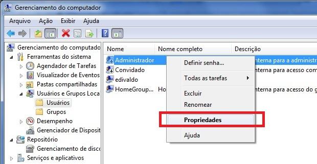 Acessando as propriedades da conta do administrador (Foto: Reprodução/Edivaldo Brito)