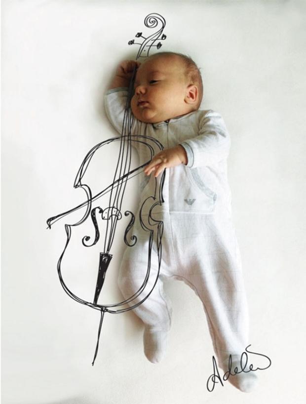 Aqui, Vincent toca violoncelo (Foto: Reprodução/ Adele Enersen)