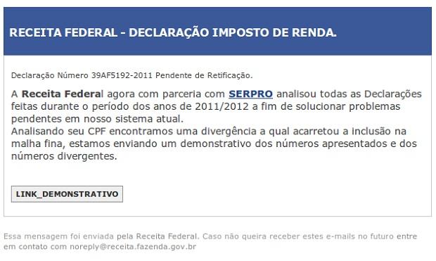 E-mail com link suspeito (Foto: Reprodução/Edivaldo Brito)