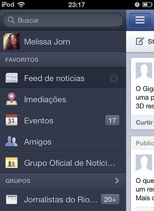 Facebook atualiza aplicativo como novas funções de localização (Foto: Reprodução/Melissa Cruz)
