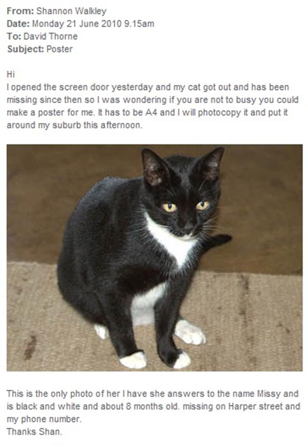 E-mail com o pedido de Shannon e a foto da gata, Missy (Foto: Reprodução)