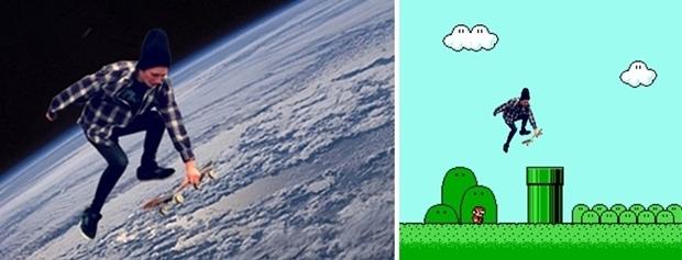 Montagens do menino saltando sobre a terra e por cima do cano, no jogo Super Mário (Foto: Reprodução)
