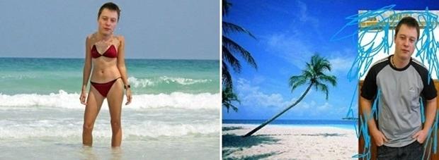 Ele na praia, mas com corpo de garota; e montagem tosca (Foto: Reprodução)