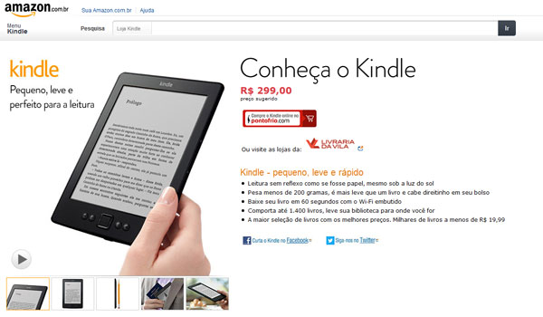 Kindle está disponível para vendas no Brasil (Foto: Reprodução)