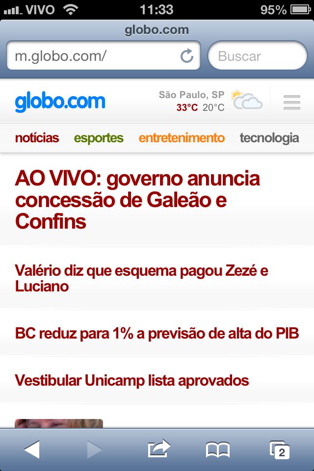 Acesse a página da Globo.com (Foto: TechTudo)