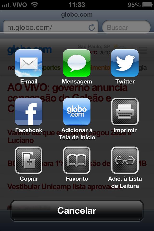 Coloque o atalho da Globo.com na tela inicial do seu iPhone ou iPod touch (Foto: TechTudo)