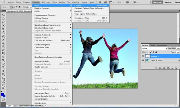 Caminho para criação de uma nova camada no Photoshop (Foto: Reprodução/Ramon Martins)