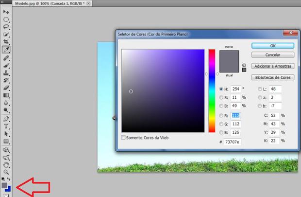 Janela de seleção de cor. Neste caso, escolhemos um tom de cinza (Foto: Reprodução/Ramon Martins)