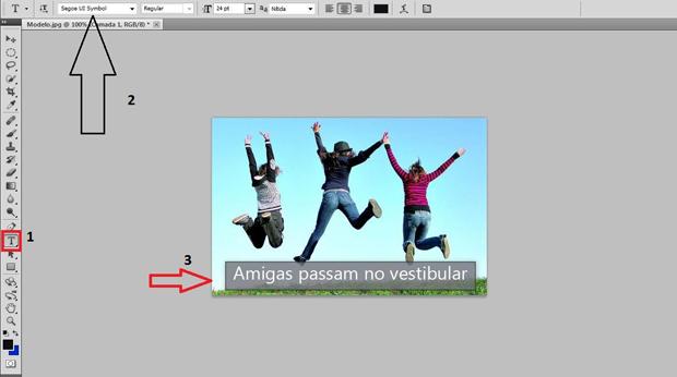 Ferramenta de texto em destaque e legenda incluída no rodapé da imagem, dentro da caixa de diálogo (Foto: Reprodução/Ramon Martins)