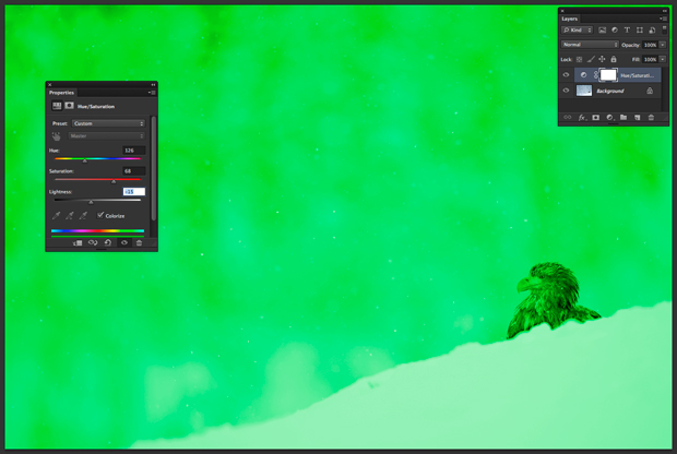"""Box """"Matiz/Saturação"""", com sliders ajustados de forma a deixar fotografia de águia com tom esverdeado (Foto: Reprodução/André Sugai)"""