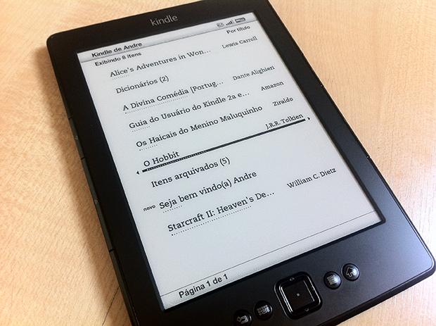 Tela inicial do Kindle, com os livros baixados e disponíveis (Foto: André Fogaça)