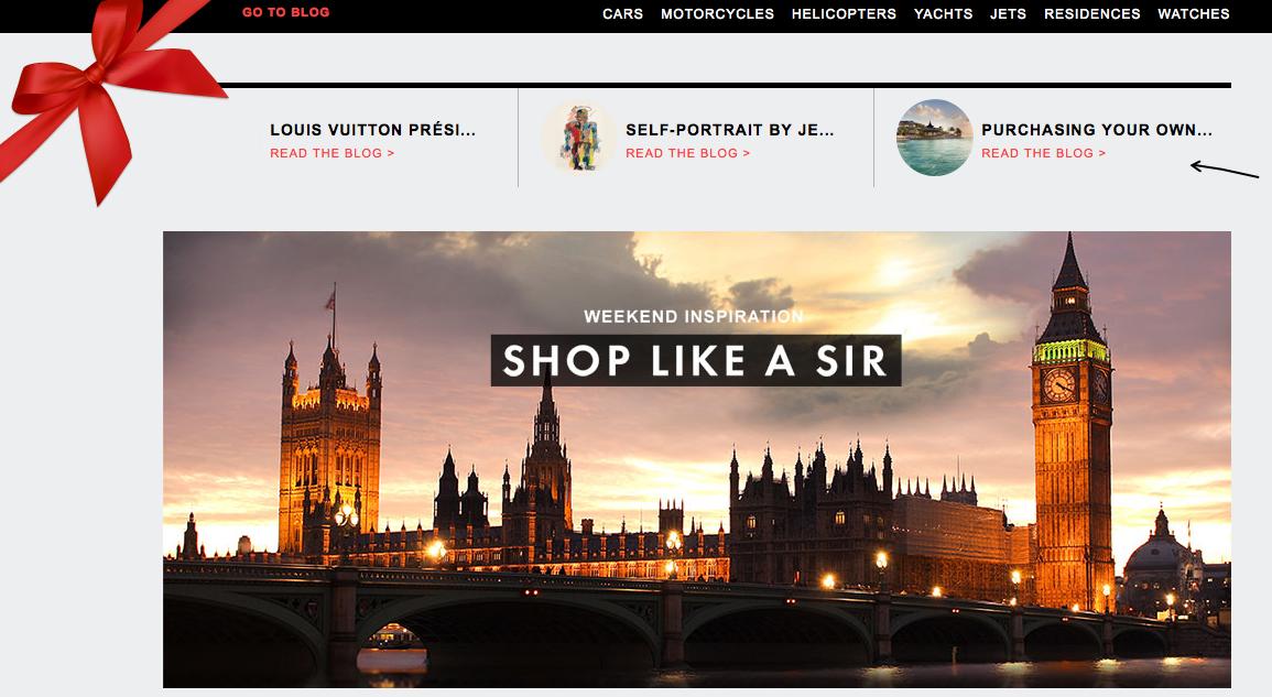 Vendas pela web com produtos refinados podem ser encontrados aos montes no The Billionaire Shop (Foto: Reprodução)