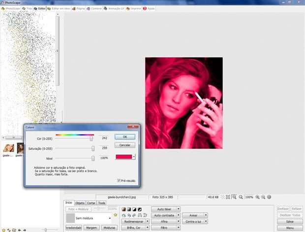"""Janela """"Colorir"""" com a cor que será usada como batom (Foto: Reprodução/Raquel Freire)"""