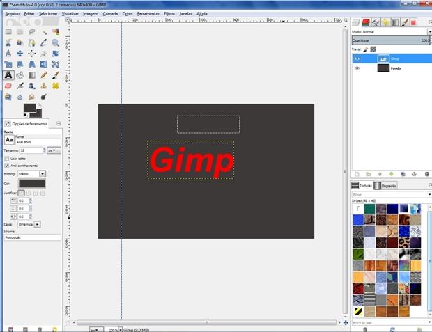 Tela do Gimp aberta com diversos tipos de elemento (Foto: Reprodução/Raquel Freire)