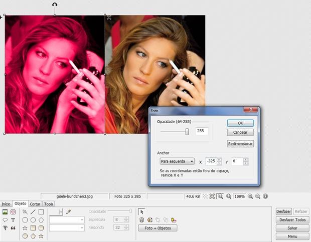 """Box """"Foto"""" configurado para que imagens fiquem lado a lado (Foto: Reprodução/Raquel Freire)"""