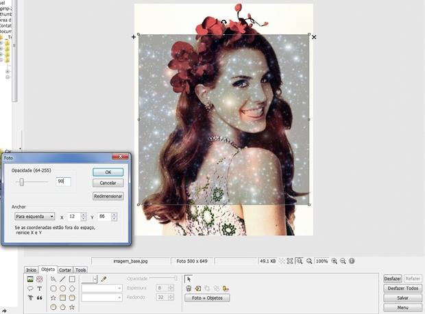 """Janela """"Foto"""" com opacidade definida como 90 e pré-visualização da imagem (Foto: Reprodução/Raquel Freire)"""