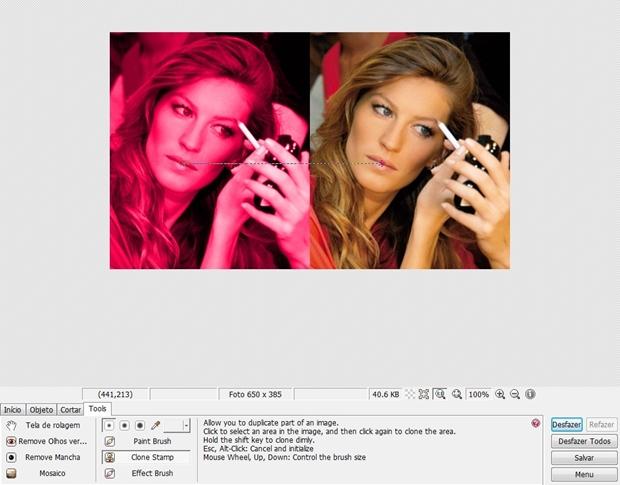 """Reta ligando dois pontos simétricos com a ferramenta """"Clone Stamp"""" (Foto: Reprodução/Raquel Freire)"""