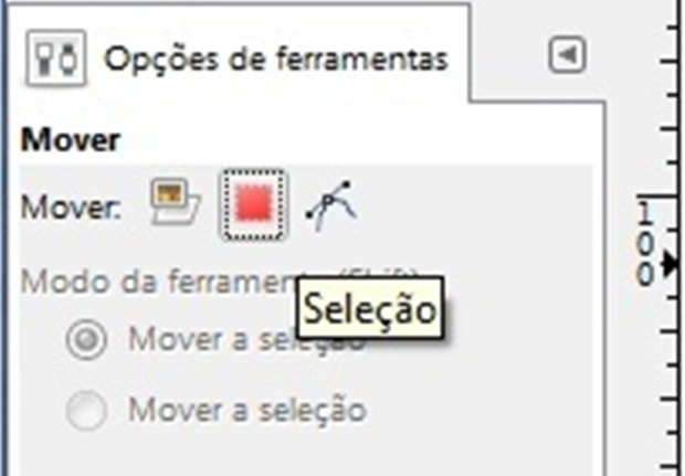 """Botão """"Seleção"""" da ferramenta """"over"""" pressionado (Foto: Reprodução/Raquel Freire)"""