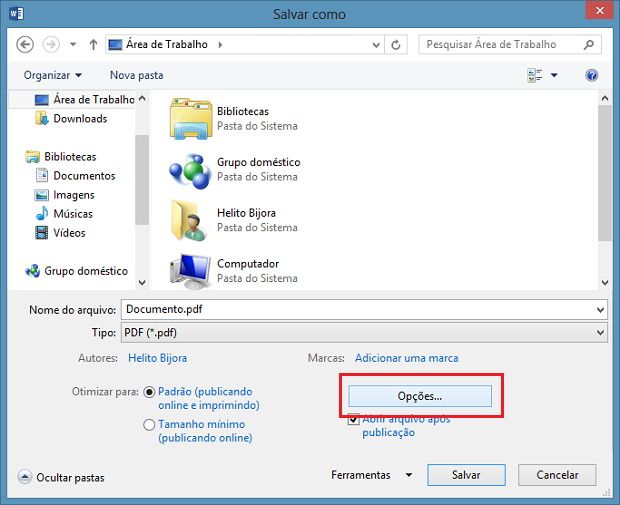Arquivo sendo salvo como PDF (Foto: Reprodução/Helito Bijora)