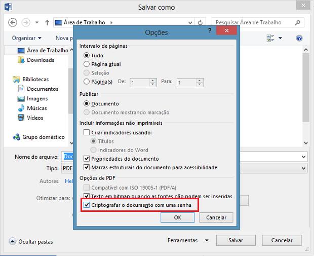 Opções de salvamento em PDF (Foto: Reprodução/Helito Bijora)