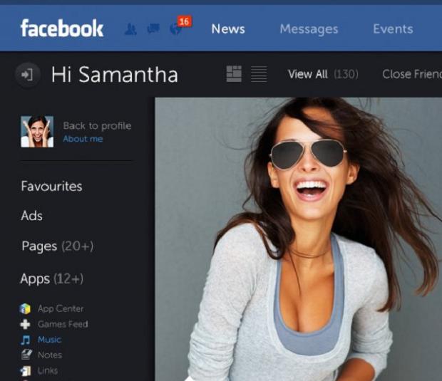 Facebook conceitual tem layout bem diferente do atual (Foto: Reprodução Business Insider)