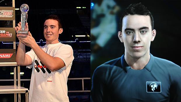 Campeão de PES 2013, Eduardo Morillo, virou atleta virtual no jogo (Foto: onlyproevolutions.com e opsforum.com.br)