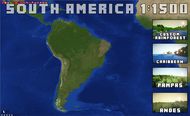 Poderemos até vistiar o Brasil em blocos na América do Sul de Minecraft (Foto: Kotaku)