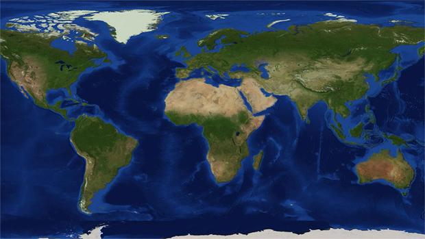 Versão do planeta Terra reproduzida em Minecraft em escala de 1:1500 (Foto: Kotaku)