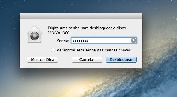 Sistema pedindo a senha para dar acesso ao disco criptografado (Foto: Reprodução/Edivaldo Brito)