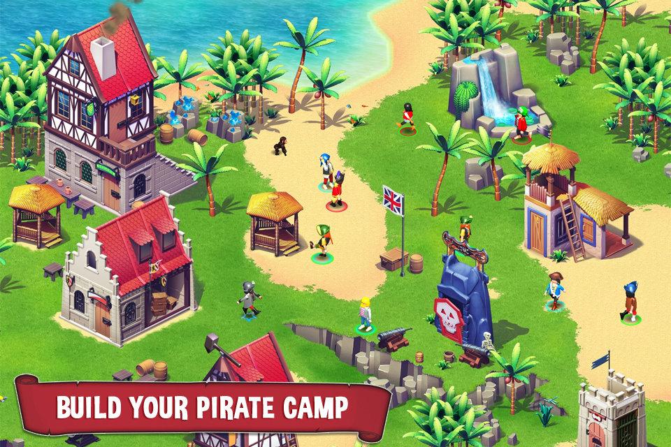 Jogador constrói sua vila no jogo Playmobil Pirates