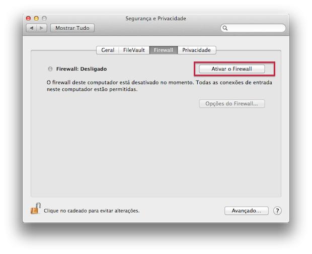 Ativando o firewall do Mac (Foto: Reprodução/Edivaldo Brito)