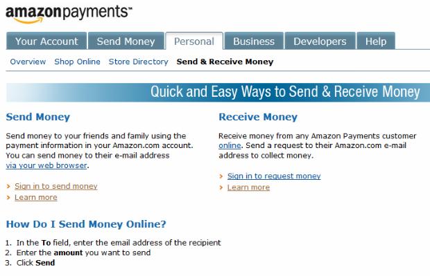 Amazon WebPay: receba e envie dinheiro por e-mail (Foto: Divulgação/ Amazon)
