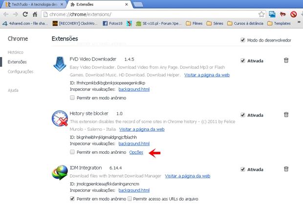 """Clique em """"Opções"""" para configurar o History Site Blocker (Foto: Reprodução/Aline Ferreira)"""