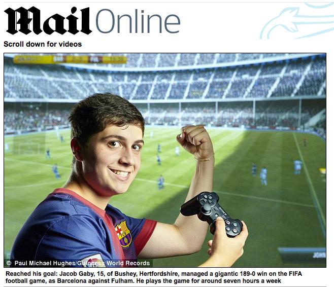 Jacob Gaby é o autor da goleada de 189 x 0 em Fifa 12 (Foto: Mail Online)