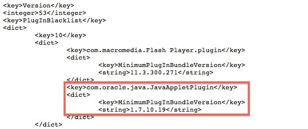 Detalhe do arquivo modificado pela Apple que bloqueou o plug-in do Java no Mac (Fot:Reprodução/MacRumors)