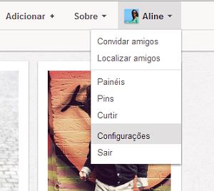 Acessando as configurações do Pinterest (Foto: Reprodução/Aline Jesus)
