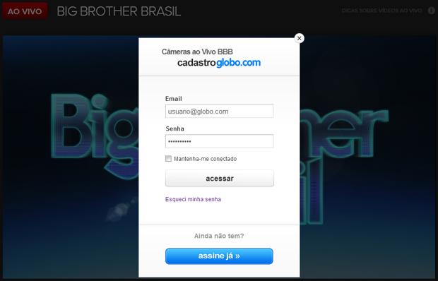 Tela de login para acompanhar o conteúdo exclusivo para assinantes do Globo.TV (Foto: Reprodução/Ricardo Fraga)