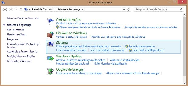 Painel de controle clássico do Windows 8 (Foto: Reprodução/Helito Bijora)